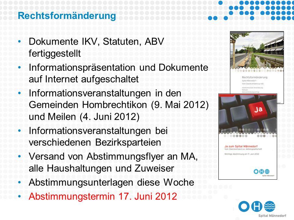 Rechtsformänderung Dokumente IKV, Statuten, ABV fertiggestellt. Informationspräsentation und Dokumente auf Internet aufgeschaltet.