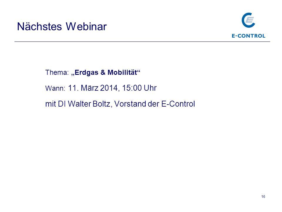 Nächstes Webinar mit DI Walter Boltz, Vorstand der E-Control
