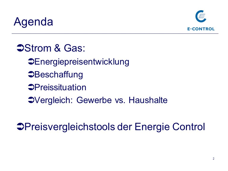 Agenda Strom & Gas: Preisvergleichstools der Energie Control