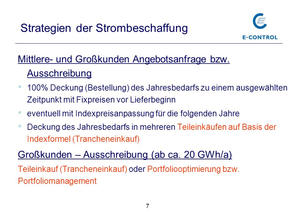 Strategien der Strombeschaffung