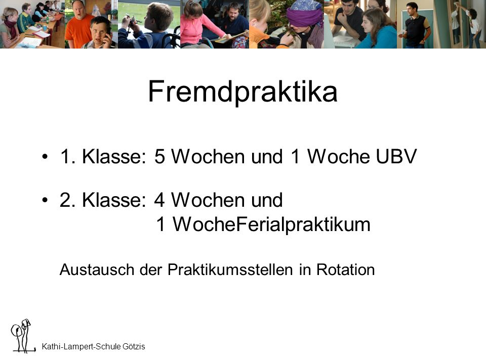 Fremdpraktika 1. Klasse: 5 Wochen und 1 Woche UBV