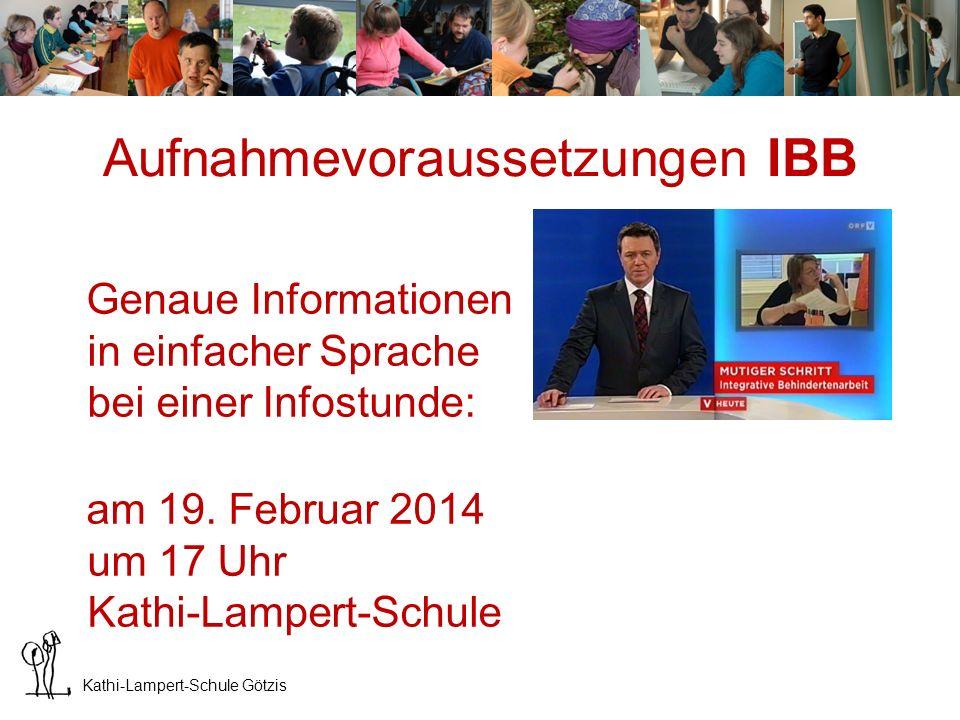 Aufnahmevoraussetzungen IBB