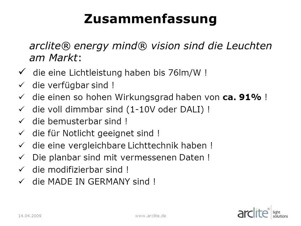 Zusammenfassung arclite® energy mind® vision sind die Leuchten am Markt: die eine Lichtleistung haben bis 76lm/W !