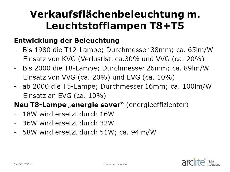Verkaufsflächenbeleuchtung m. Leuchtstofflampen T8+T5