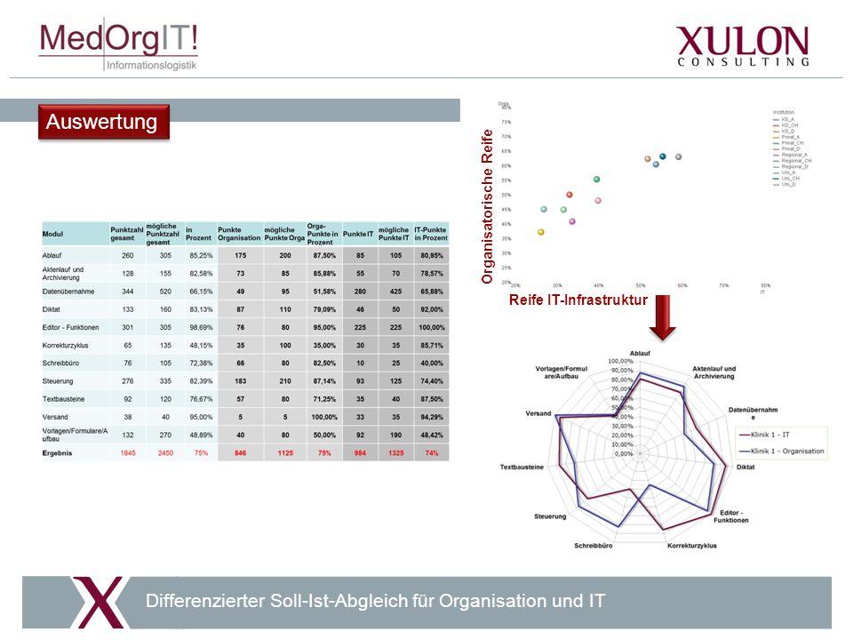 Auswertung Differenzierter Soll-Ist-Abgleich für Organisation und IT