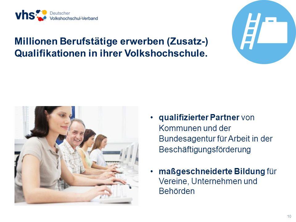 Millionen Berufstätige erwerben (Zusatz-) Qualifikationen in ihrer Volkshochschule.