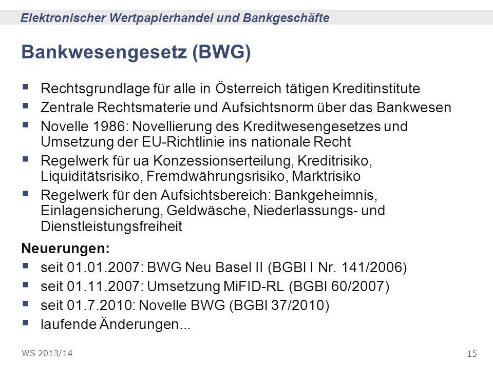 Bankwesengesetz (BWG)