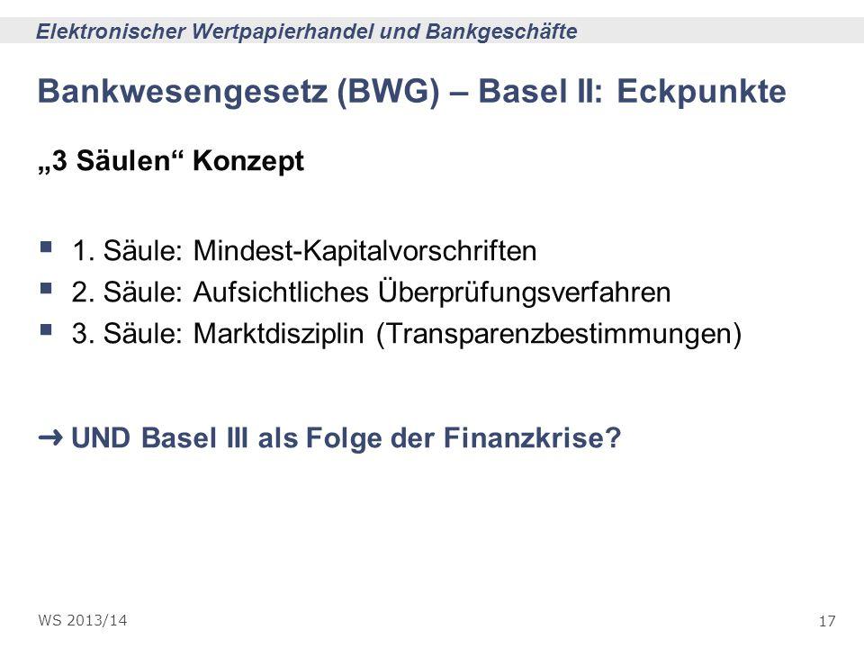 Bankwesengesetz (BWG) – Basel II: Eckpunkte