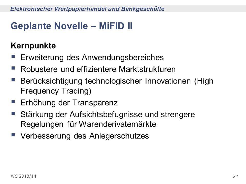 Geplante Novelle – MiFID II