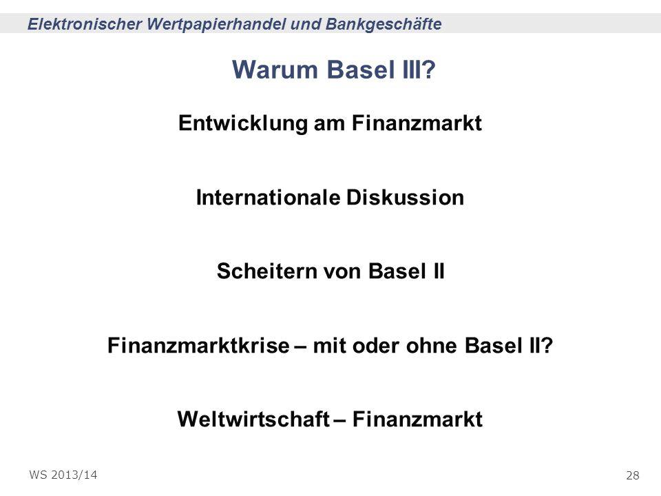Warum Basel III Entwicklung am Finanzmarkt Internationale Diskussion
