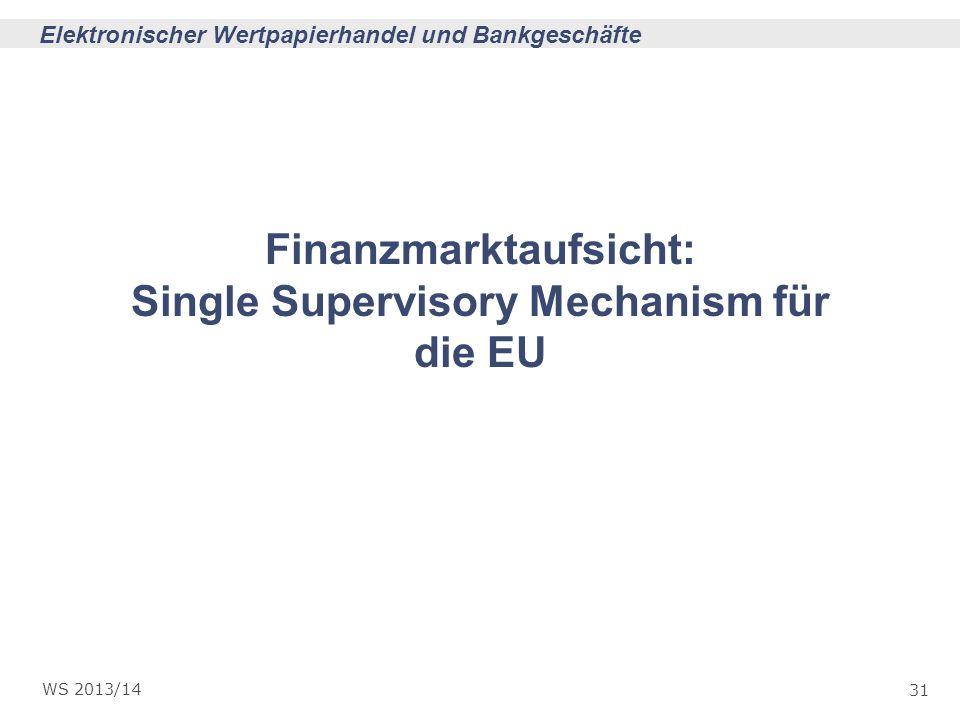 Finanzmarktaufsicht: Single Supervisory Mechanism für die EU