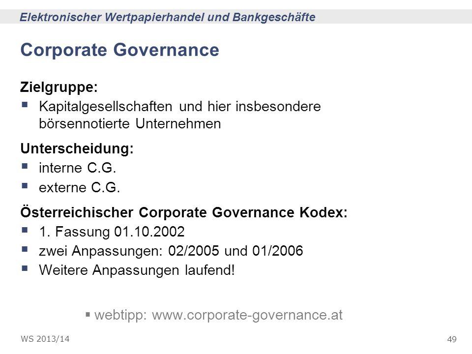 Corporate Governance Zielgruppe: