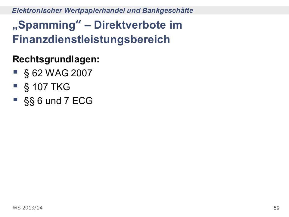 """""""Spamming – Direktverbote im Finanzdienstleistungsbereich"""