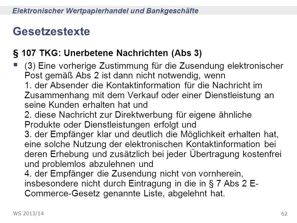 Gesetzestexte § 107 TKG: Unerbetene Nachrichten (Abs 3)