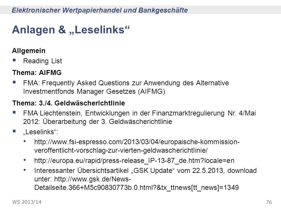 """Anlagen & """"Leselinks Allgemein Reading List Thema: AIFMG"""