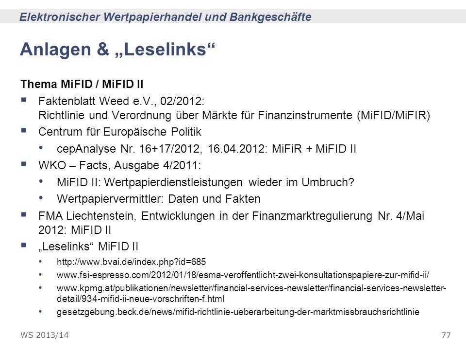 """Anlagen & """"Leselinks Thema MiFID / MiFID II"""