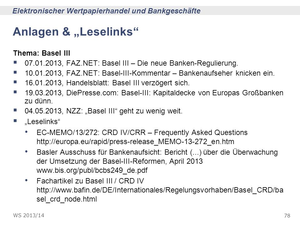 "Anlagen & ""Leselinks Thema: Basel III"