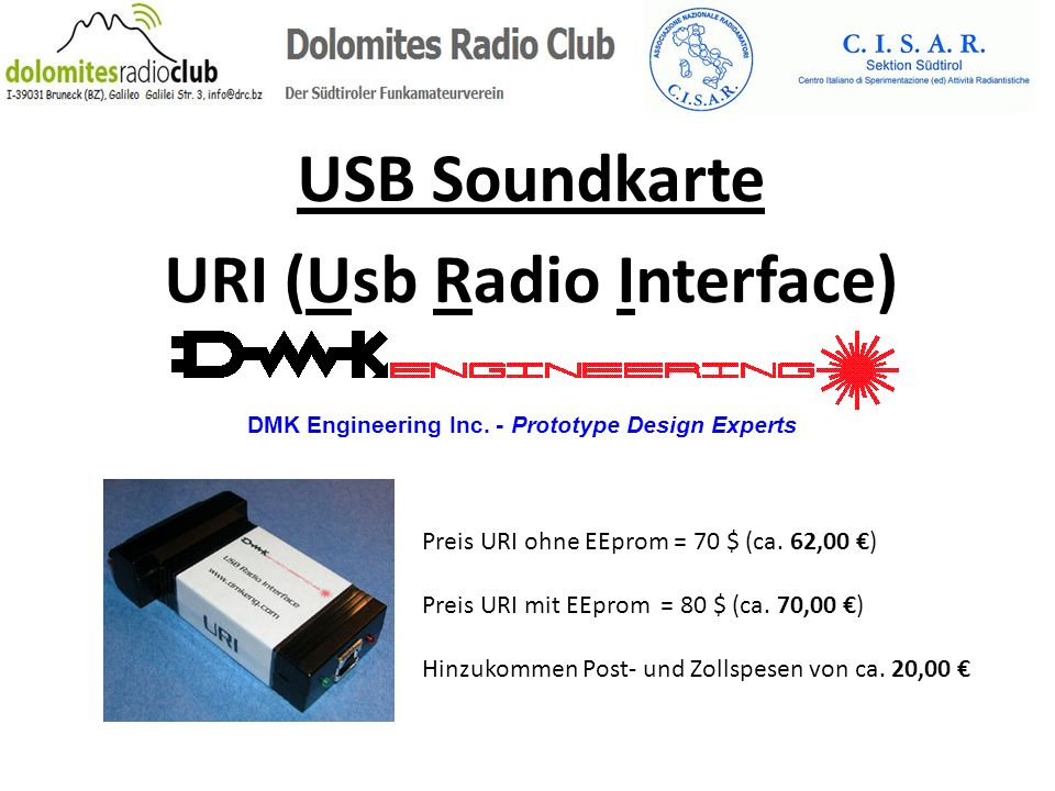 USB Soundkarte URI (Usb Radio Interface)