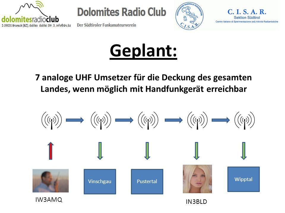 Geplant: 7 analoge UHF Umsetzer für die Deckung des gesamten Landes, wenn möglich mit Handfunkgerät erreichbar.