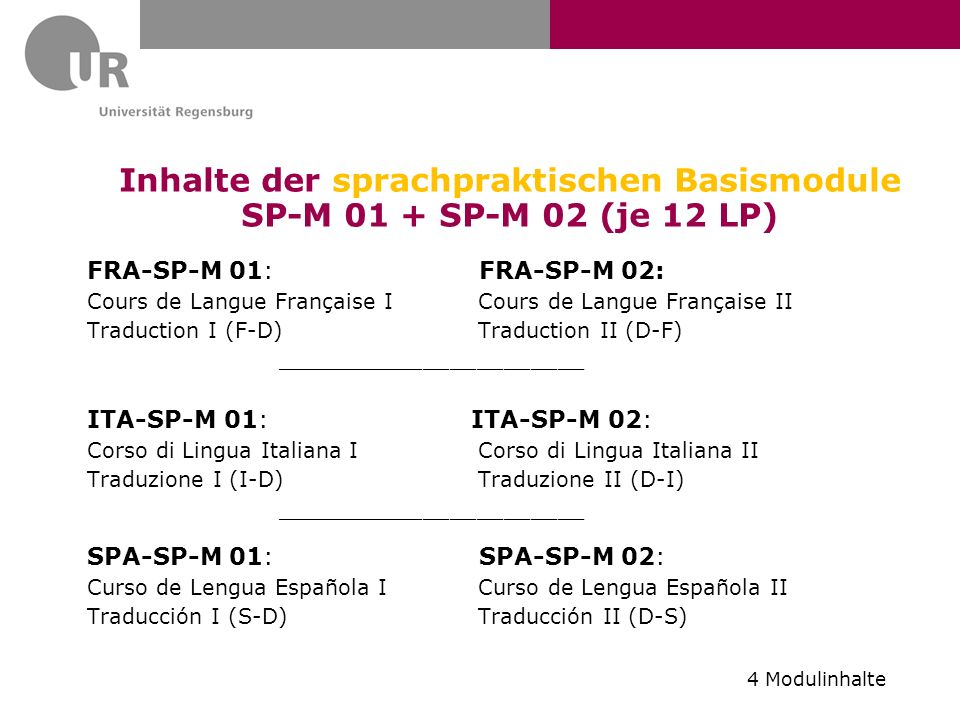Inhalte der sprachpraktischen Basismodule SP-M 01 + SP-M 02 (je 12 LP)