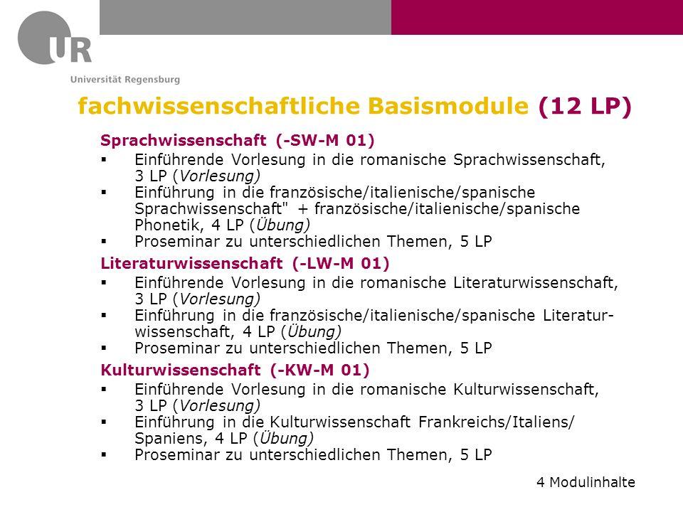 fachwissenschaftliche Basismodule (12 LP)