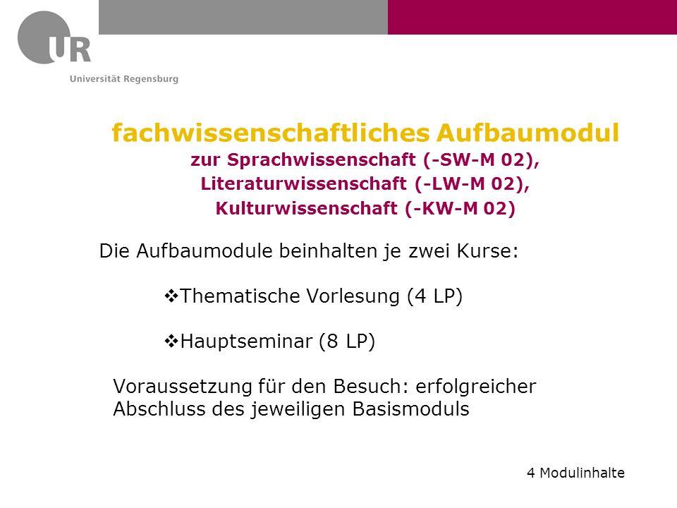fachwissenschaftliches Aufbaumodul zur Sprachwissenschaft (-SW-M 02), Literaturwissenschaft (-LW-M 02), Kulturwissenschaft (-KW-M 02)