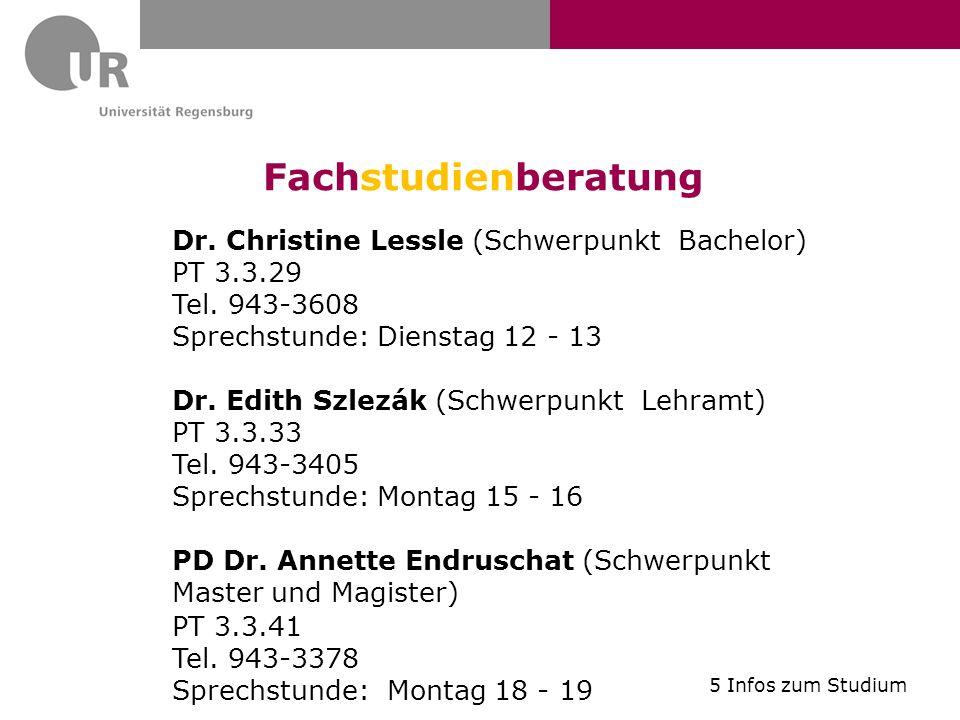 Fachstudienberatung Dr. Christine Lessle (Schwerpunkt Bachelor)
