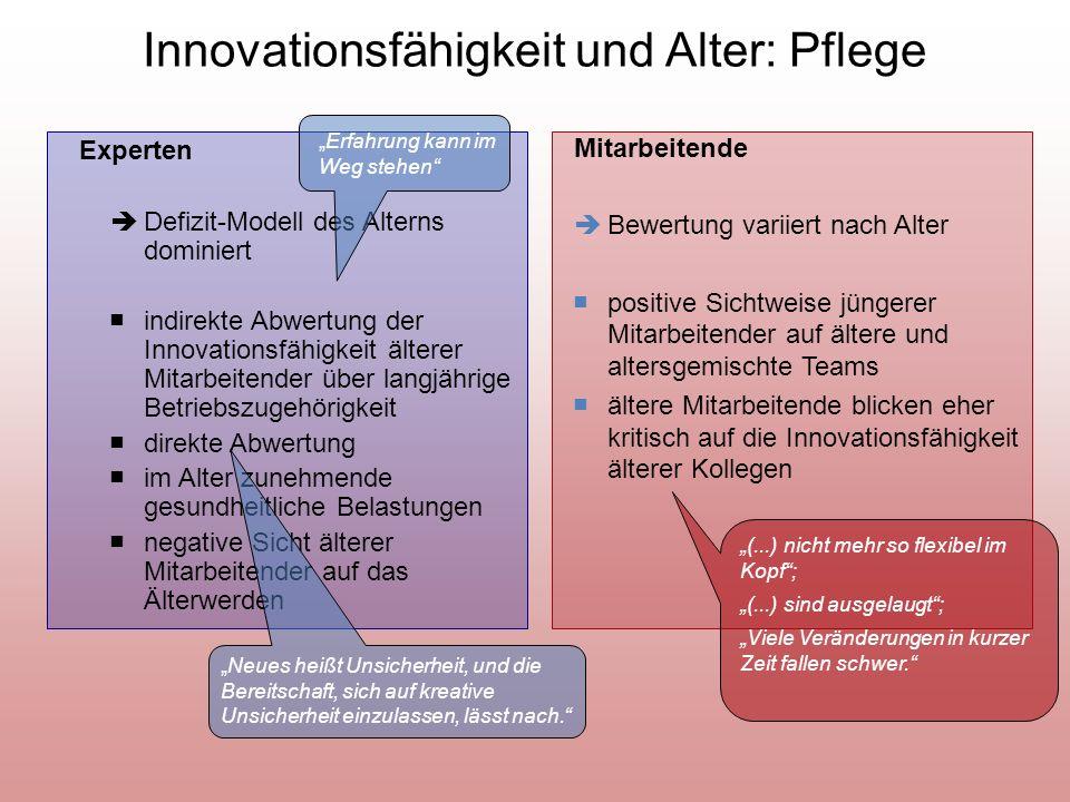 Innovationsfähigkeit und Alter: Pflege