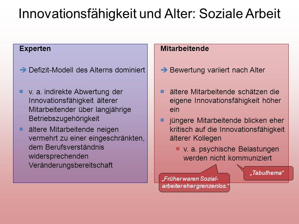 Innovationsfähigkeit und Alter: Soziale Arbeit
