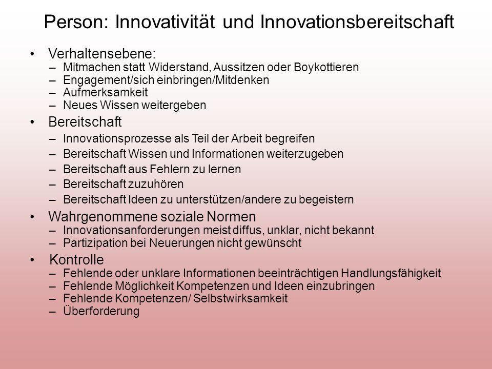 Person: Innovativität und Innovationsbereitschaft