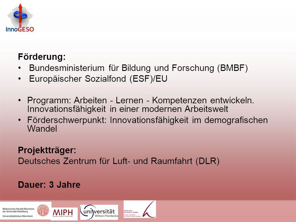 Förderung: Bundesministerium für Bildung und Forschung (BMBF) Europäischer Sozialfond (ESF)/EU.