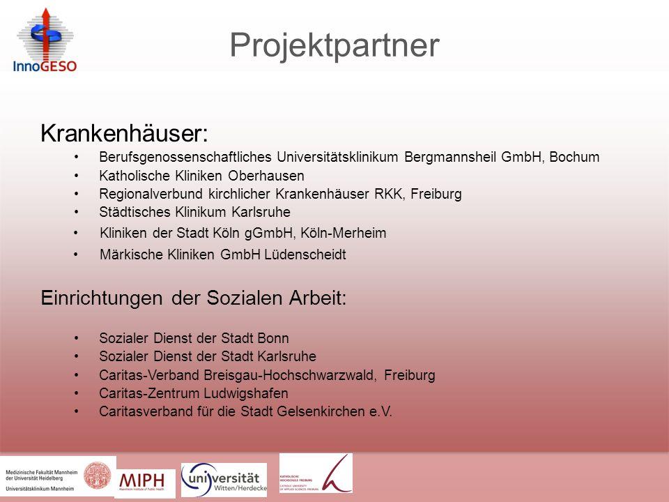Projektpartner Krankenhäuser: Einrichtungen der Sozialen Arbeit: