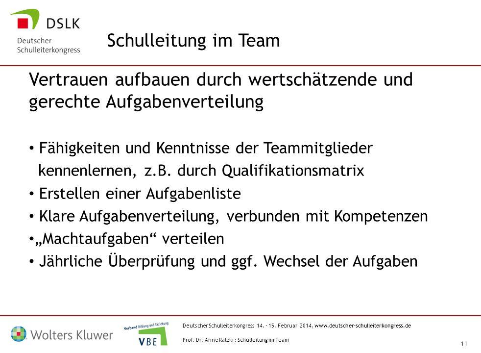 Schulleitung im Team Vertrauen aufbauen durch wertschätzende und gerechte Aufgabenverteilung. Fähigkeiten und Kenntnisse der Teammitglieder.