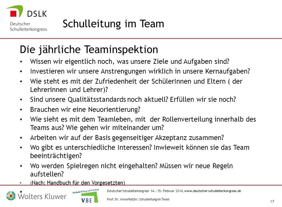 Die jährliche Teaminspektion