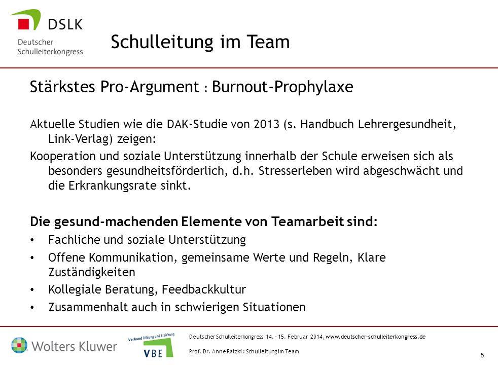 Schulleitung im Team Stärkstes Pro-Argument : Burnout-Prophylaxe