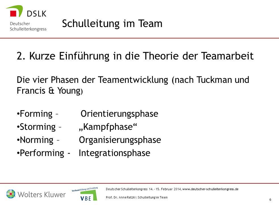 2. Kurze Einführung in die Theorie der Teamarbeit