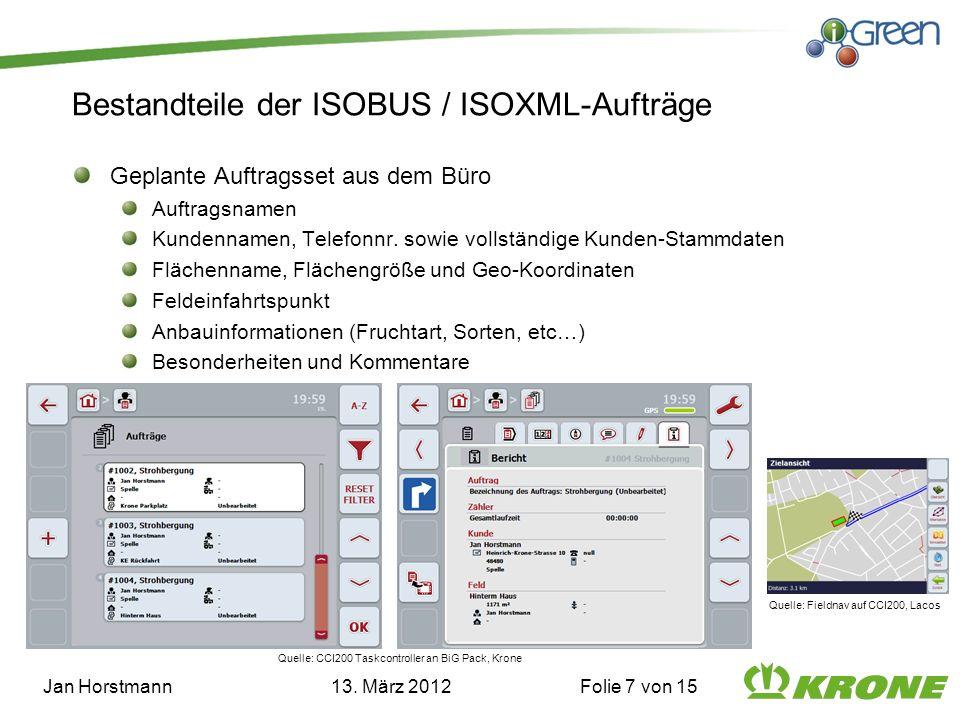 Bestandteile der ISOBUS / ISOXML-Aufträge