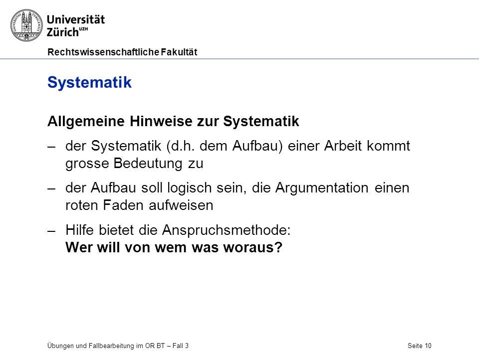 Systematik Allgemeine Hinweise zur Systematik