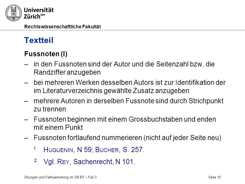 Textteil Fussnoten (I)