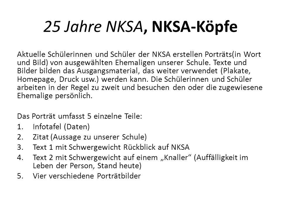 25 Jahre NKSA, NKSA-Köpfe