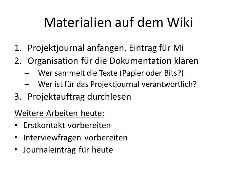 Materialien auf dem Wiki