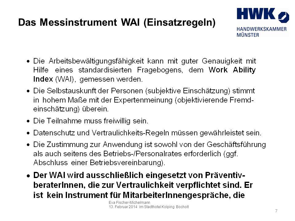 Das Messinstrument WAI (Einsatzregeln)