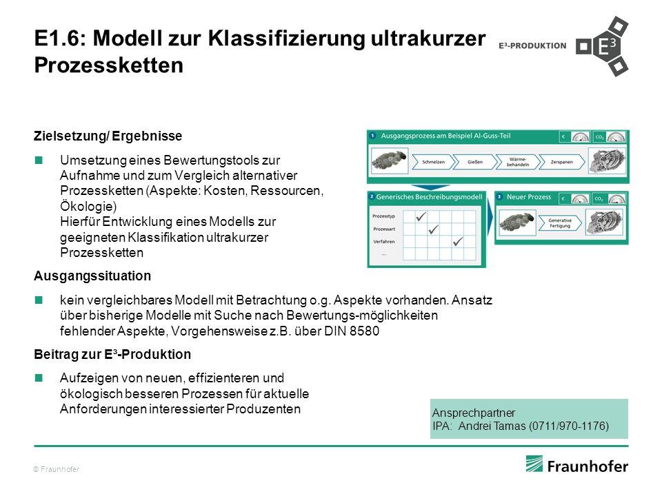E1.6: Modell zur Klassifizierung ultrakurzer Prozessketten