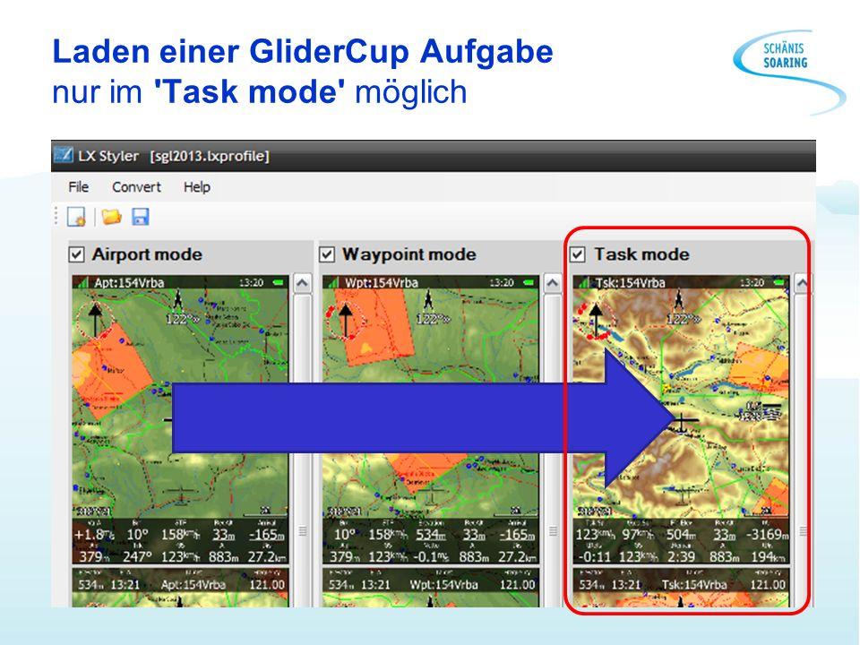 Laden einer GliderCup Aufgabe nur im Task mode möglich