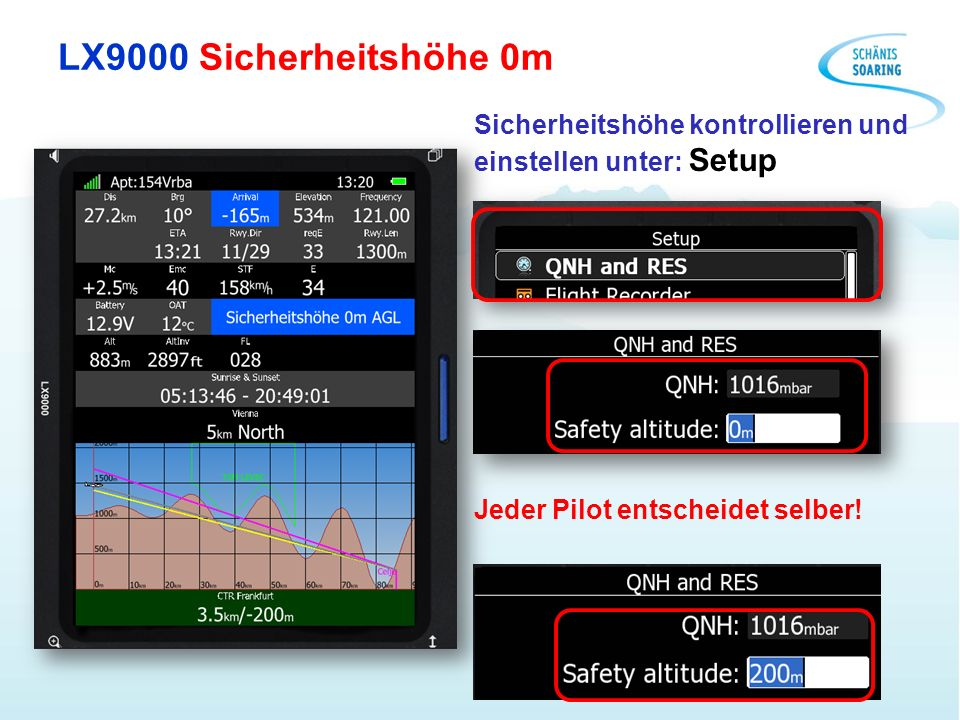 LX9000 Sicherheitshöhe 0m Sicherheitshöhe kontrollieren und