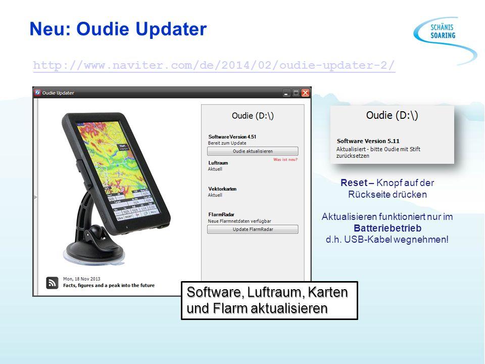 Neu: Oudie Updater Software, Luftraum, Karten und Flarm aktualisieren