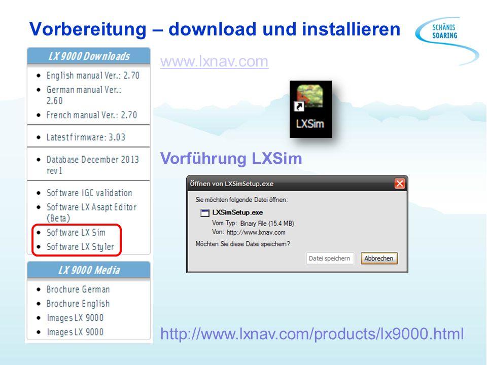 Vorbereitung – download und installieren