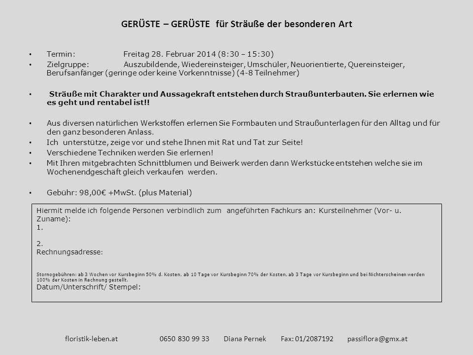 GERÜSTE – GERÜSTE für Sträuße der besonderen Art