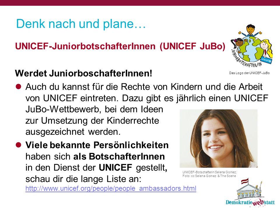 Denk nach und plane… UNICEF-JuniorbotschafterInnen (UNICEF JuBo)