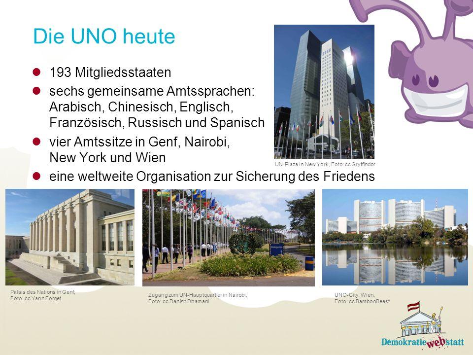 Die UNO heute 193 Mitgliedsstaaten